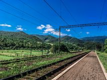 Railway station in Carpathian royalty free stock image