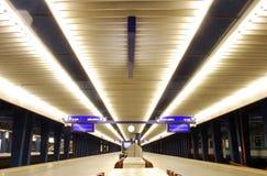 Railway Station. Central Warsaw, platform, light platforms, , long-distance trains royalty free stock photos