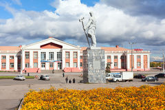 Railway station in the city of Magnitogorsk, Russi. MAGNITOGORSK, RUSSIA - SEPTEMBER 27: Railway station and a monument steelmaker in the city on September 27 royalty free stock photos