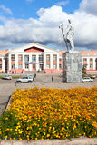 Railway station in the city of Magnitogorsk, Russi. MAGNITOGORSK, RUSSIA - SEPTEMBER 27: Railway station and a monument steelmaker in the city on September 27 royalty free stock image