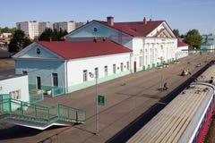 Railway station of the city of Vyazma, Smolensk region. Vyazma, Russia - July 29, 2010: Railway station of the city of Vyazma, Smolensk region stock images