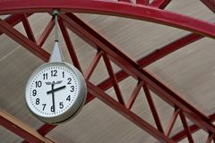 Railway station clock Royalty Free Stock Images