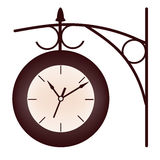 Railway station clock. Brown railway station clock at the white background Royalty Free Stock Image