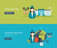 Railway station concept. Passenger transport Stock Photos
