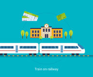 Railway station concept. Train on railway Stock Images
