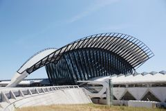 Railway station connected to Saint Exupery airport in Lyon Stock Photography