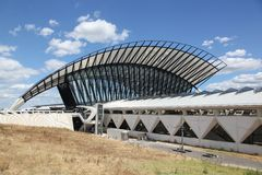 Railway station connected to Saint Exupery airport in Lyon Stock Images