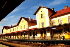Railway station in Czech Republic. Railway station in the small town of Benesov of the Czech Republic Stock Photography