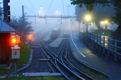 Railway station in dawn Stock Image