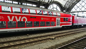 Railway station of Dresden, Germany. Regio - the regional train in red color. Dresden, Germany - April,25. 2014 - railway station of Dresden, Germany. Regio stock video