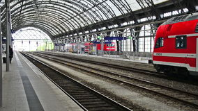 Railway station of Dresden, Germany. Regio - the regional train in red color stock footage