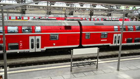 Railway station of Dresden, Germany. Regio - the regional train in red color. Dresden, Germany - April,25. 2014 - railway station of Dresden, Germany. Regio stock footage