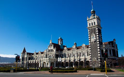 Railway station at Dunedin, New Zealand. Railway station with blue sky at Dunedin, New Zealand Stock Photography