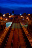 Railway station in the dusk. Railway trek in Athenry train station at night and sky in the dusk Stock Photography