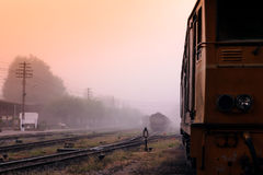 railway station early morning in winter. Stock Photo