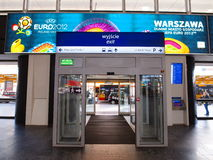 Railway Station and Euro 2012 Banner in Warsaw Stock Photo