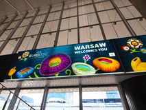 Railway Station and Euro 2012 Banner in Warsaw Stock Photography