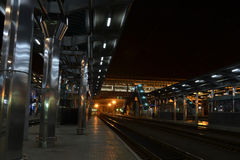 Railway station. In the evening without people Stock Photography