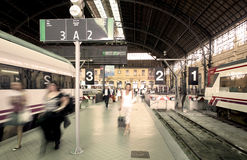 Railway station with exits and arrivals platforms Stock Image