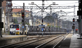 Railway station with freight train Royalty Free Stock Photography