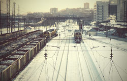 Railway station for freight trains Royalty Free Stock Images