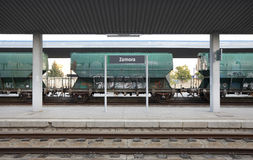 Railway station with freight wagons and rails Royalty Free Stock Image