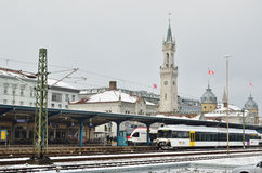 Railway station in the German town Royalty Free Stock Photo