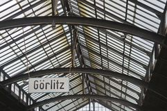 Railway station in Goerlitz. East Germany, historic departure hall with glass roof Royalty Free Stock Photo