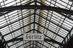 Railway station in Goerlitz. East Germany, historic departure hall with glass roof Stock Images