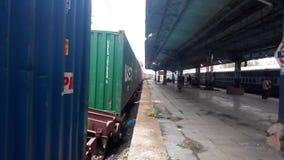 Railway station. Goods train in railway station India Stock Image