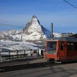 Railway station on the Gornergrat and Matterhorn Stock Photography