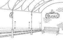 Railway station graphic train platform sketch illustration Royalty Free Stock Photos