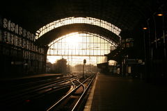 Railway station in Haarlem. Netherlands. Direct sun light coming through the windows of landing-stage royalty free stock photography