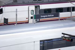 Railway station with high-speed trains Stock Photos