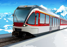 Railway station. At hight Alps mountains Royalty Free Stock Photo