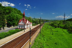 Railway station in the hills Royalty Free Stock Photography