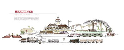 Railway station illustration, City collection Stock Images