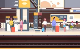 Railway Station Interior With People Passengers Waiting For Train Holding Bags Transport And Transportation Concept. Vector Illustration Stock Photos