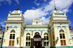 Railway station in Irkutsk, eastern Siberia, Russian Federation. IRKUTSK, RUSSIA - 04 JULY, 2016 - Railway station in Irkutsk, eastern Siberia, Russian royalty free stock images