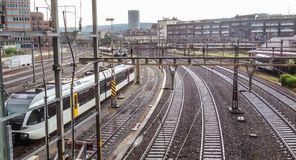 Railway station and junction with railroad switch royalty free stock photo