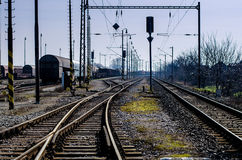 Railway station junctions Royalty Free Stock Photo