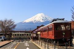 Railway station at Kawaguchiko for scenery of Mt. Fuji. Stock Photo