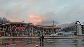 Railway station Krasnaya Polyana, snow mountains Stock Photo
