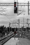 Railway station in Lahti. Railroad tracks at the railway station in Lahti, Finland Stock Photos