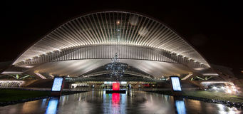 Railway station Liege Guillemins at night Stock Image