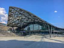 Railway Station `Lodz Fabryczna` ,Lodz, Poland. Modern, futuristic beautiful railway station. Railway Station `Lodz Fabryczna` ,Lodz, Poland. Modern futuristic stock photo