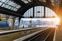 The railway station in Lviv, Ukraine. The design is similar to the train station in Milan, Italy. Early morning. Soft focus. Toning Royalty Free Stock Photo