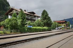 Railway station in Mayrhofen. Austria.  Royalty Free Stock Images