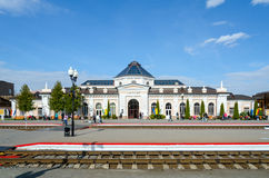 Railway station in Mogilev, Belarus. MOGILEV, BELARUS - APRIL 25, 2015: Unidentified people are waiting to board in trains on the platform of the train station stock photos