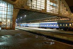 Railway station at night Royalty Free Stock Images